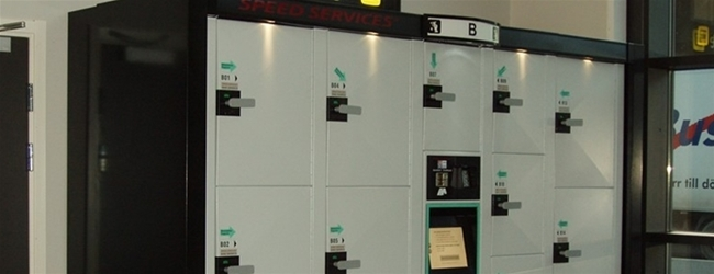 Luggage lockers at Örnsköldsvik Central Station