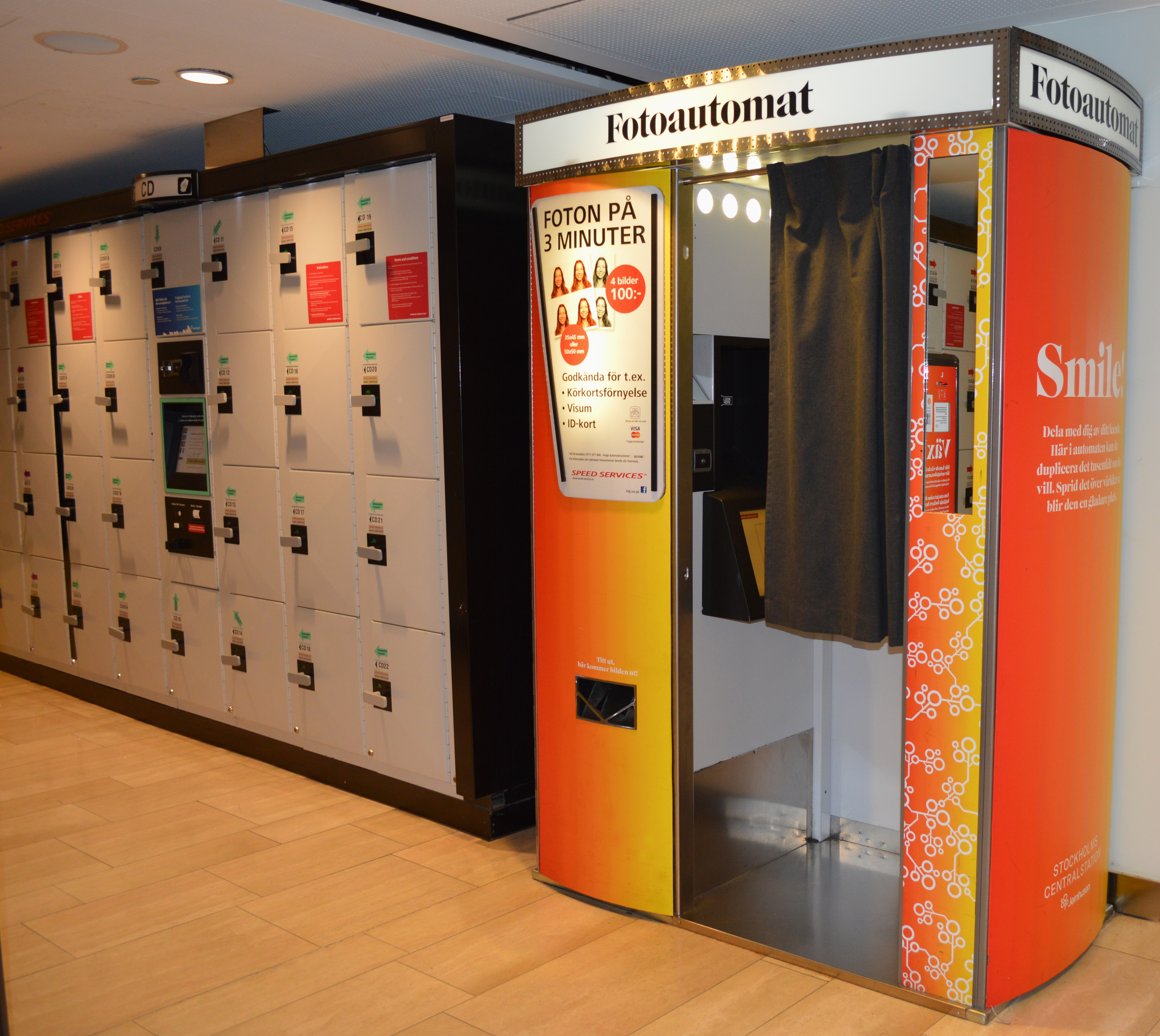 Photo booth and storage lockers at Stockholm central railway station