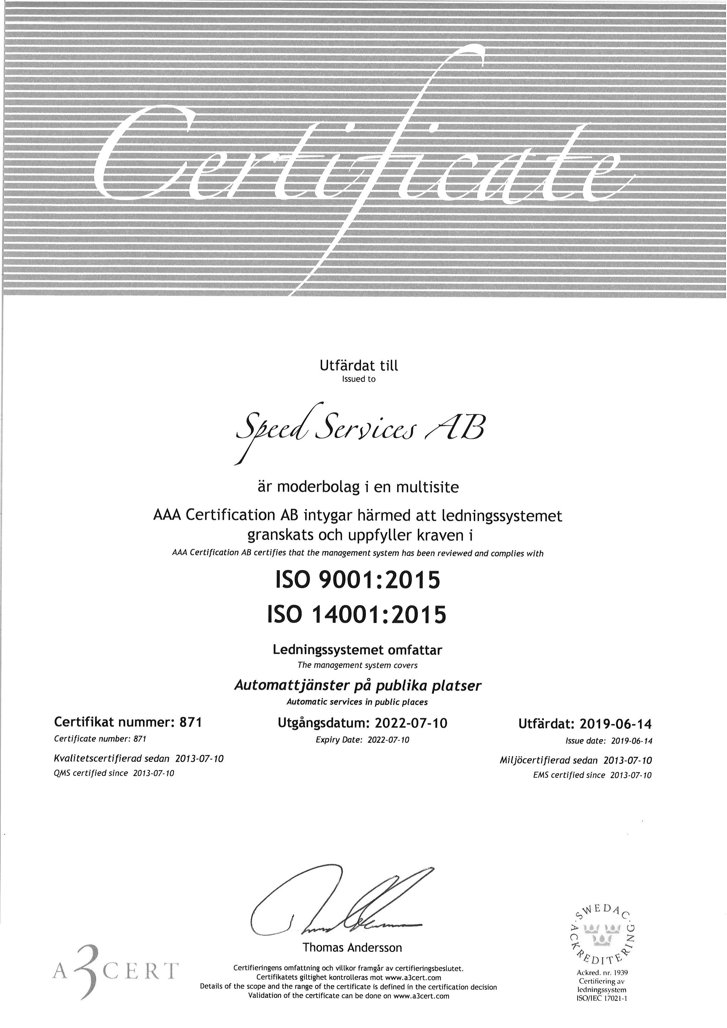 ISO-certifikat Speed Services